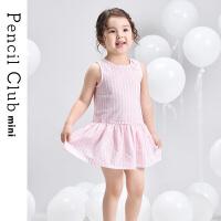 【专区119元4件】铅笔俱乐部童装2020夏装新款女童条纹背心裙儿童棉质连衣裙儿童裙