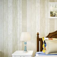 乡村木纹墙纸 卧室客厅背景墙 地中海无纺布条纹壁纸 1000*53cm