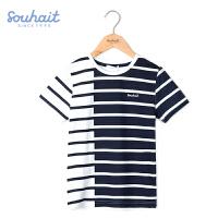 【3件3折 到手价:41.7元】水孩儿(SOUHAIT)童装2018夏季新款男童短袖T恤时尚纯棉儿童半袖体恤衫AQAXM550