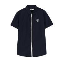 美特斯邦威短袖衬衫男士 夏装新款襟条纹织带225337商场同款