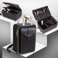 新款韩式化妆包大号大容量多层化妆箱防水影楼跟妆实用化妆包 黑色