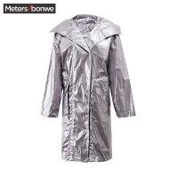 【1件3折到手价:74.97】美特斯邦威风衣女秋季新款潮流亮面西装领中长款外套bf风潮