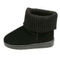 短靴冬季雪地靴女简约经典平底短筒靴子加厚加绒保暖棉靴学生棉鞋 黑色