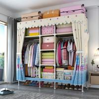 衣柜简易布衣柜全钢架钢管布艺牛津布双人租房家用卧室收纳挂衣橱