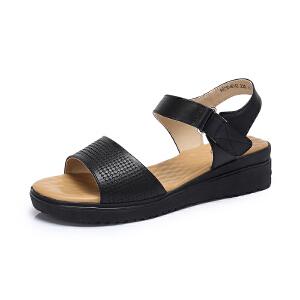 骆驼女鞋 2018夏季新品 休闲简约真皮坡跟魔术贴舒适韩版凉鞋女潮