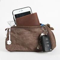 男士手拿包新款复古休闲帆布包钱包长款拉链便携女士零钱包