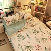 北欧条纹格子同款被子套床单床上四件套1.2米学生宿舍三件套