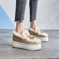 毛毛鞋女冬外穿2018新款网红厚底一脚蹬韩版百搭增高懒人鞋 TBP
