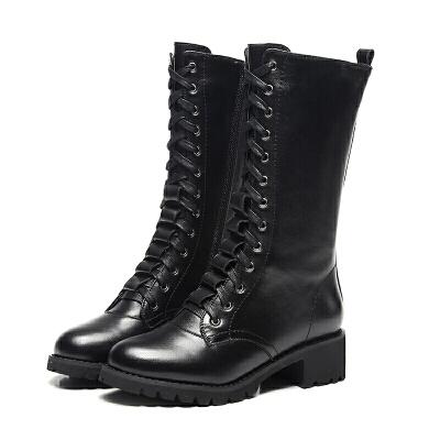 马丁靴女英伦风真皮中筒靴中跟粗跟短靴韩版潮加绒女鞋秋冬