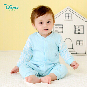迪士尼Disney童装婴儿衣服秋季新款草莓熊纯棉男女宝宝连体衣罗纹前开扣新生儿爬服183L746