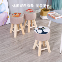 布艺凳子家用圆凳实木矮凳客厅创意沙发凳成人小板凳梳妆凳餐桌凳