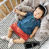 婴儿衣服夏季 女小童0-2岁韩版猫咪绣花翻领纯棉牛仔上衣短袖衬衫