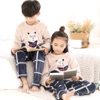 儿童睡衣套装秋冬季中男童女童长袖家居服珊瑚绒加绒加厚款