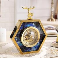 美式样板房家居客厅装饰品摆件欧式创意鹿头时钟座钟床头台钟摆台