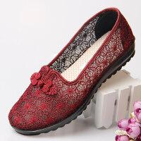 中老年鞋女妈妈老人凉鞋平底奶奶防滑软底单鞋布鞋新款鞋子