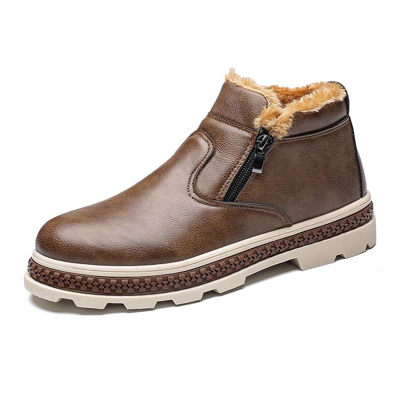冬季棉鞋加绒保暖雪地靴男韩版短靴厚底防滑短筒鞋高腰休闲鞋
