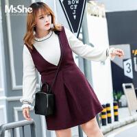 MsShe大码女装2017新款胖mm冬装200斤深V领背带裙连衣裙M1640465