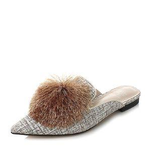 Tata/他她2018春布面毛球尖头方跟穆勒鞋女凉鞋S1A07AH8