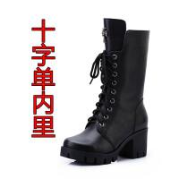 马丁靴女英伦风春秋季粗跟中筒单靴冬款高跟系带雪地棉短靴潮
