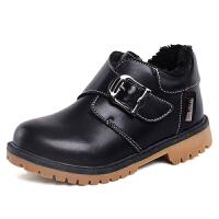 儿童加绒棉鞋男童黑色马丁靴中大童二棉鞋冬季男孩高帮童鞋