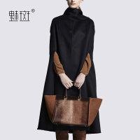 【新年狂欢到手价:728.6】魅斑欧美高领宽松套头斗篷大衣女中长款显瘦双面呢黑色毛呢外套