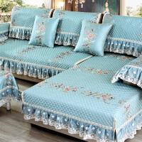 四季通用型欧式布艺沙发垫简约现代客厅定做坐垫全盖全包�f能套罩 锦绣倾城 湖蓝