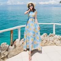 2018女装夏季新款修身无袖波西米亚雪纺连衣裙海边度假沙滩长裙