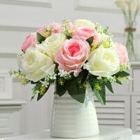 仿真玫瑰花束套装客厅餐桌卧室家居装饰品假花塑料花干花摆设摆件