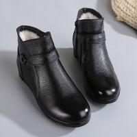 乌龟先森 短靴 女式冬季新款妈妈棉鞋真皮皮毛一体中老年保暖柔软耐磨防滑羊毛女奶奶棉靴冬