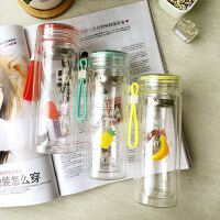 新款水果玻璃杯子双层隔热水杯创意日用百货杯子时尚茶杯