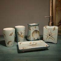 简约陶瓷卫浴摆件组日式洗漱五件套浴室用品套装件牙刷杯漱口杯 海