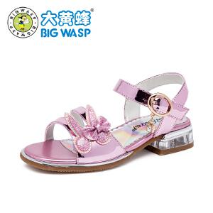大黄蜂女童凉鞋2018新款 儿童凉鞋女孩公主鞋韩版夏季中大童5-9岁