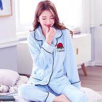 睡衣女冬季法兰绒女士加厚珊瑚绒家居服保暖套装长袖开衫韩版可爱