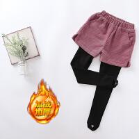 女童秋冬时尚加绒加厚弹力打底裤儿童灯芯绒假两件短裤中大童长裤