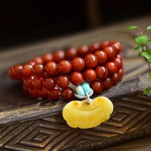 天然川料南红手串9mm,搭配天然蜜蜡如意