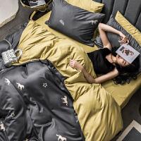 夏季冰丝四件套网红款天丝被套床单床笠欧式丝滑裸睡夏天床上用品床上四件套老公老婆被子四件套加被芯和枕芯