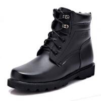 男士作战靴冬季羊毛真皮雪地靴保暖棉靴子工装短靴真皮 黑色 3513真皮保暖