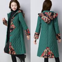 民族风大码女装印花加厚外套中长款保暖棉袄 唐装女冬装棉衣