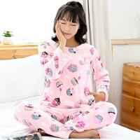 秋冬法兰绒睡衣女长袖珊瑚绒睡衣韩版甜美可爱清新学生家居服套装