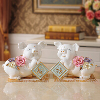陶瓷猪摆件家居饰品客厅柜装饰小摆设乔迁新居礼品