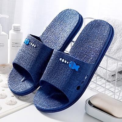情侣可爱家居家用塑料拖鞋女夏天男室内浴室洗澡漏水软底防滑凉拖 藏青色 小鱼泡泡款