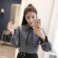 格子衬衫女秋季2018新款韩版长袖polo领打底衫宽松学生格子上衣服