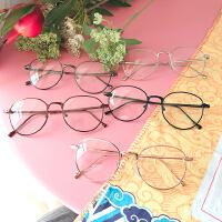 韩版学院复古箭头圆形金属半框平光镜文艺小清新男女学生眼镜框架