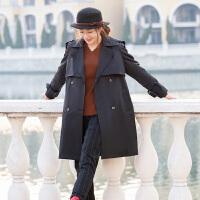 秋冬修身黑色风衣女中长款2018韩版新款时尚百搭小个子气质外套