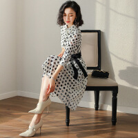 蕾丝连衣裙2019新款女春装名媛气质正式场合有女人味的波点衬衫裙 黑白波点