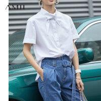 【到手价:138元】Amii港风chic尖领翻领全棉衬衫女2019夏米白白色个性短袖直筒衬衫