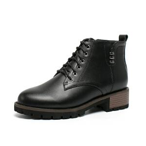 如熙2017秋冬新品 舒适牛皮 便利侧拉链 时尚女靴