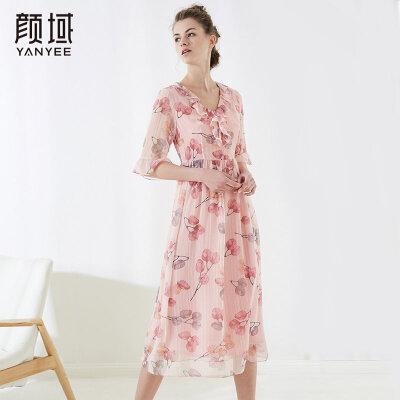 颜域新款印花雪纺连衣裙女喇叭袖收腰修身减龄女装2018夏季裙子