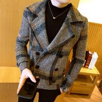 韩国专柜冬季风衣男短款修身格子毛呢外套韩版青年呢子大衣男装