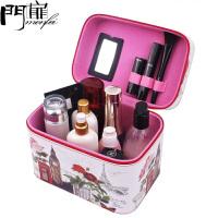 门扉 化妆箱 可爱大容量手提化妆箱便携化妆包防水旅行收纳包化妆工具箱化妆品收纳盒